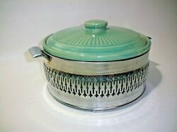 Vtg Mcm Mid Century Modern 2 Qt Stoneware Covered Baking Dish With Chrome Stand