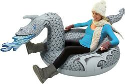 Gofloats Winter Snow Tube Inflatable Toboggan Sled For Kids Or Adults Ice Dragon
