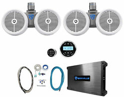 Rockville Bluetooth Receiver+2 Dual 8 White Marine Wakeboard Tower Speakers+amp