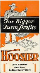 Old Hoosier Corn Turners One Row Riding Cultivators Brochure Rushville Indiana