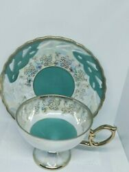 Vintage Lefton Japan Iridescent Teal Green Gold Tea Cup And Reticulated Saucer