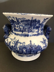Vtg Porcelain Large Jardiniere By Victoria Ware Ironstone In Flow Blue