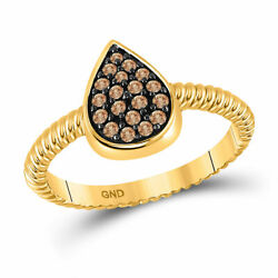10kt Yellow Gold Womens Round Brown Diamond Teardrop Cluster Ring 1/5 Cttw