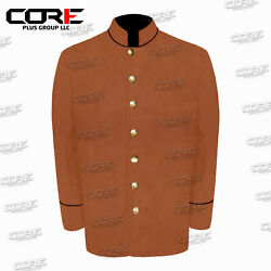 Us Civil War Confederate 7 Csa Buttons Butternut Sack Coat With Pipping Trims