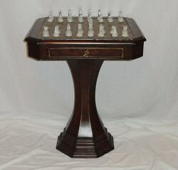 Hammary Furniture Pedestal Chess Game Table Wood Leather Brass W Glass Pieces 08