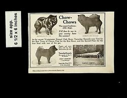 1919 Chow Chows Dogs For Sale Vintage Print Ad 14501