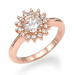 3/4 Ct Diamond Engagement Ring Round Cut F/si1 14k Rose Gold Size 6