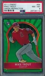 Mike Trout 2011 Topps Finest Green Refractor /199 Psa 8 Nm-mt Rookie Card 94