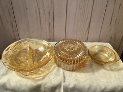 Vintage Federal Pioneer Glass Floral Orange Bowls Catch All Jewelry Holder