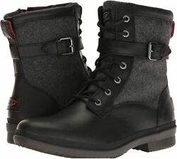 New Ugg Womenand039s Kesey Black Waterproof Leather Biker Boots Sz 8.5 160