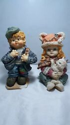 Antique Art Hand Carved Marble Colorful Boy And Girl