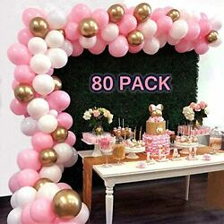 Pink And Gold Balloons 80 Pcs 10 Inch Baby White Latex Party For Shower Wedding $13.48