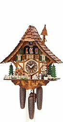 German Cuckoo Clock 8-day-movement Chalet-style 16.00 Inch - Authentic Black For
