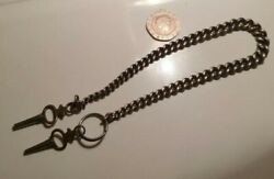 Superb Antique Solid Silver Single Albert Pocket Watch Chain With 2 Keys N6 N2