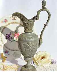 Collectibles Vintage Antique Jug Wine Decanter Tin Very Old Rare From Italy 1950
