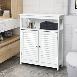 Bathroom Storage Cabinet Wood Floor Cabinet w Double Shutter Door Gray White