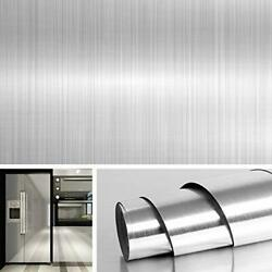 197x36 Inches Wide Contact Paper Peel And Stick Stainless Steel Wallpaper Silver