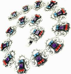 Vintage Design Taxco Mexican 925 Sterling Silver Amethyst Flower Necklace Mexico