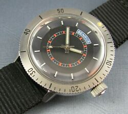 Rare Vintage Benrus Stainless Steel Diver Style Mens Watch 17j 1960s