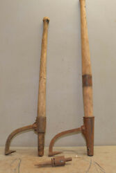 2 Antique Logging Hook Peavy Cant Dog Collectible Lumberjack Log Moving Tool Lot