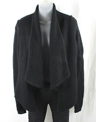 Givenchy Women#x27;s Black Mohair Blend Open Front Cardigan Sweater Size M $159.00