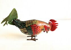 German Tin Rooster Hopping 1940s Windup Toy