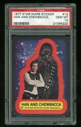 1977 Topps Star Wars Stickers Han And Chewbacca 12 Psa 10 Gem Mint
