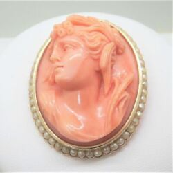 Antique Vintage 14k Y Gold Carved Pink Coral And Seed Pearls Cameo Brooch Pendant