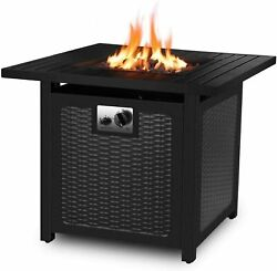 30 Inch Propane Gas Fire Pit 50,000 Btu Auto-ignition W/ Waterproof Table Cover