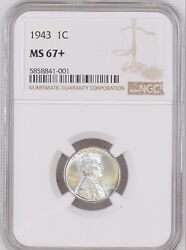 1943 1c Lincoln Wheat One Cent Ngc Ms67+   5858841-001