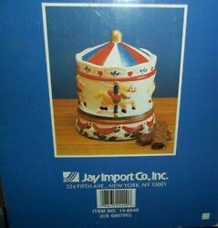 Jay Imports Merry Go Round Carousel Horse Ceramic Cookie Jar Vintage New In Box