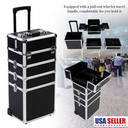 Makeup Beauty Cosmetic 4 in 1 Case Trolley Box Jewelry Nail Storage Vanity Black $136.24