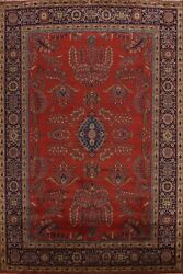 Red Vegetable Dye Floral Agra Oriental Area Rug Hand-knotted Dining Room 9'x12'