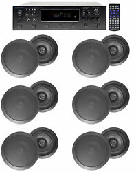 6000w 6 Zone Home Theater Bluetooth Receiver+12 Black 8 Ceiling Speakers