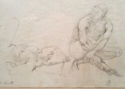 Jack Tworkov Signed Original Pencil Drawing Nude Female And Male 1964 Woman Man