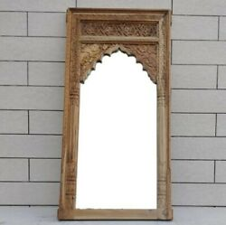 Made To Order Mehrab Indian Hand Carved Mirror Arched Globe Wooden Wall Decor L