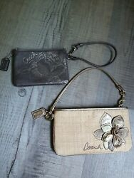 Coach Wristlets Set Of 2 Floral Straw Silver Spring $36.00