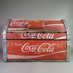 Vintage Coca Cola Coke Wooden Chest Crate Hinged Box With Tin Edges