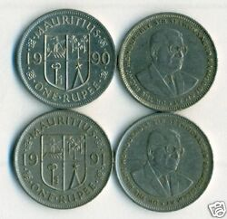 2 Different 1 Rupee Coins From Mauritius Dating 1990 And 1991
