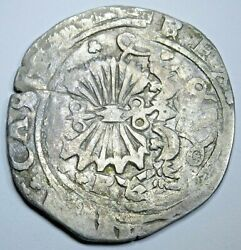 1400s-1500s Ferdinand And Isabella Spanish Silver 2 Reales Antique Columbus Coin