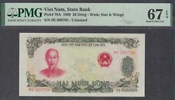 Vietnam State Bank 20 Dong Banknote P-78a Nd 1969 Pmg 67 Epq
