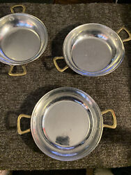 """Set Of 3 Copper And Stainless Steel Bowls 8"""" Used Please See Photos"""