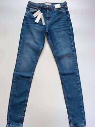 Topshop Jamie High Waisted Skinny Blue Jeans Size 10 W28 L34 Bnwt Rrp Andpound40