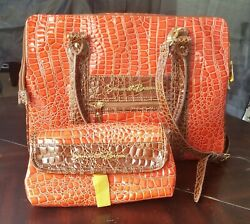 Samantha Brown Perfect Tote amp; Cosmetic Case Tangerine $44.99