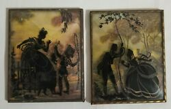 2 Vtg Wall Hangings Convex Glass Victorian Silhouette Paintings Victorian Lovers