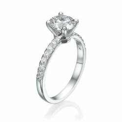 H/si2 Round Cut Diamond Engagement Ring 2.00 Ct 14k White Gold Real