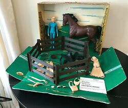 Vintage Marx Johnny West Jane West Horse Accessories Ranch Manual Corral Fence