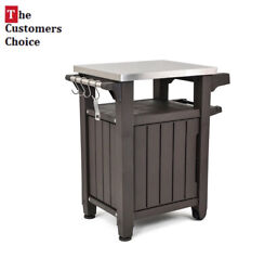 Outdoor Keter Unity Serving Station Prep Table Stainless Top Resin Storage Bbq