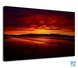 Amazing Orange Sunset At Beach For Living Room Canvas Print Wall Art Picture GBP 38.99