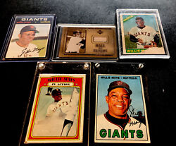 Willie Mays Lot Of 1966 1967 1971 1972 And Game Used Bat Hof Legend Lot 803
